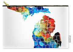 Michigan State Map - Counties By Sharon Cummings Carry-all Pouch by Sharon Cummings