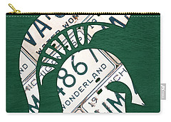 Michigan State Spartans Sports Retro Logo License Plate Fan Art Carry-all Pouch by Design Turnpike