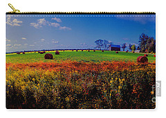 Carry-all Pouch featuring the photograph Michigan Uper  Farm Barn And Rolls Of Hay Brimly Michigan by Tom Jelen