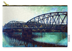 Carry-all Pouch featuring the photograph Mid-delaware River Bridge by Janine Riley