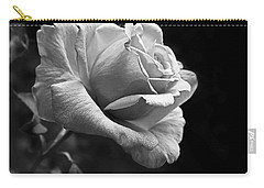 Midnight Rose In Black And White Carry-all Pouch