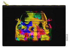 Mini Cooper Colorful Abstract On Black Carry-all Pouch by Eti Reid