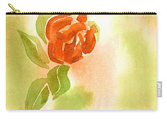 Carry-all Pouch featuring the painting Miniature Red Rose II by Kip DeVore