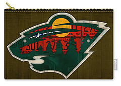 Minnesota Wild Retro Hockey Team Logo Recycled Land Of 10000 Lakes License Plate Art Carry-all Pouch by Design Turnpike