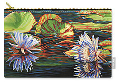 Carry-all Pouch featuring the painting Mirrored Lilies by Jane Girardot