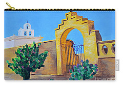 Carry-all Pouch featuring the painting Mission San Xavier by Rodney Campbell