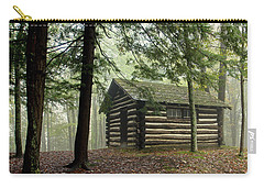 Carry-all Pouch featuring the photograph Misty Morning Cabin by Suzanne Stout