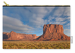 Carry-all Pouch featuring the photograph Mitchell Butte And Gray Whiskers In The Evening Light by Jeff Goulden