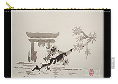 Carry-all Pouch featuring the painting Miyajima De No Torii by Roberto Prusso