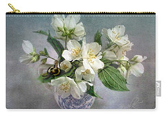 Sweet Mock Orange Blossom Bouquet With Bumble Bee  Carry-all Pouch