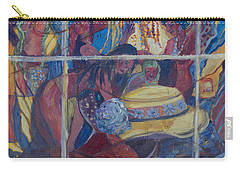 Carry-all Pouch featuring the painting Models Dressing In A Hat Store Window by Avonelle Kelsey
