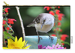 Mockingbird And Teacup Photo Carry-all Pouch by Luana K Perez