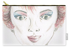 Carry-all Pouch featuring the drawing Mollys Makeover/ Pink Day by Teresa White