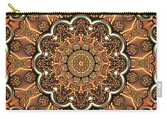 Carry-all Pouch featuring the digital art Molten Copper Mandala by Lyle Hatch