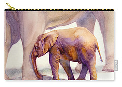 Mom And Baby Boy Elephants Carry-all Pouch by Bonnie Rinier