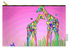 Mom And Baby Giraffe Unconditional Love Carry-all Pouch
