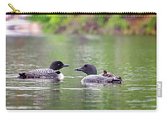 Mom And Dad Loon With Baby On Back Carry-all Pouch