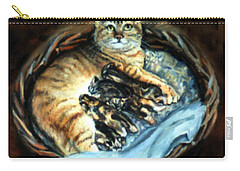 Carry-all Pouch featuring the painting Mom With Her Kittens by Donna Tucker