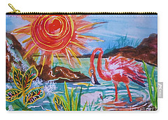 Momma And Baby Flamingo Chillin In A Blue Lagoon  Carry-all Pouch