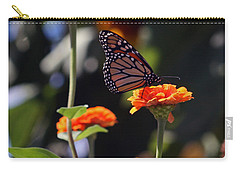 Monarch Butterfly And Orange Zinnias Carry-all Pouch