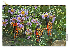 Monarch Butterfly Trio Carry-all Pouch by Susan Wiedmann
