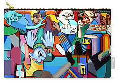 Carry-all Pouch featuring the painting Monday Night Football by Anthony Falbo