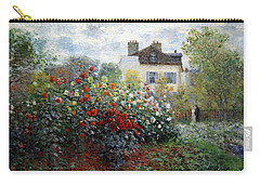 Carry-all Pouch featuring the photograph Monet's The Artist's Garden In Argenteuil  -- A Corner Of The Garden With Dahlias by Cora Wandel