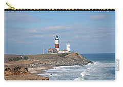 Montauk Lighthouse View From Camp Hero Carry-all Pouch by Karen Silvestri