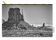 Carry-all Pouch featuring the photograph Monument Valley 3 Bw by Ron White