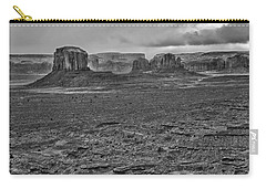 Carry-all Pouch featuring the photograph Monument Valley 4 Bw by Ron White