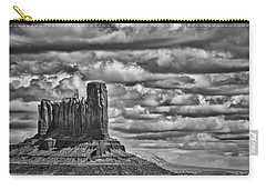 Carry-all Pouch featuring the photograph Monument Valley 6 Bw by Ron White