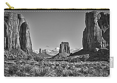 Carry-all Pouch featuring the photograph Monument Valley 8 Bw by Ron White