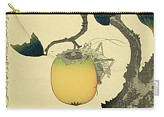Moon Persimmon And Grasshopper Carry-all Pouch by Katsushika Hokusai