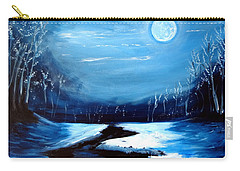 Moon Snow Trees River Winter Carry-all Pouch