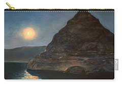 Carry-all Pouch featuring the painting Moonlight On Pyramid Lake by Donna Tucker