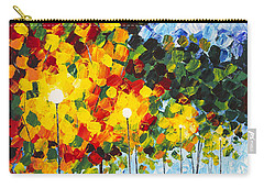 Carry-all Pouch featuring the painting Moonlight Raindrops Original Acrylic Palette Knife Painting by Georgeta Blanaru
