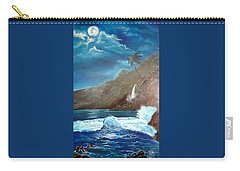 Carry-all Pouch featuring the painting Moonlit Wave by Jenny Lee