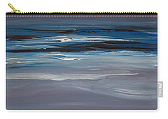Carry-all Pouch featuring the painting Moonlit Waves At Dusk by Jani Freimann