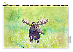 Moose In Flowers Carry-all Pouch