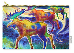 Carry-all Pouch featuring the mixed media Moose Mystique by Teresa Ascone