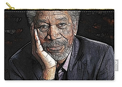 Carry-all Pouch featuring the painting Morgan Freeman  by Georgeta Blanaru