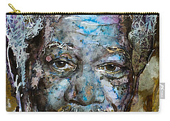 Carry-all Pouch featuring the painting Morgan In Blue by Laur Iduc