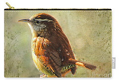 Morning Carolina Wren Carry-all Pouch by Debbie Portwood