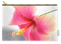 Morning Hibiscus In Gentle Light - Square Macro Carry-all Pouch by Connie Fox
