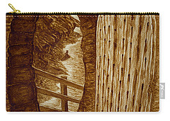 Carry-all Pouch featuring the painting Morning Walk On The Beach Original Coffee Painting by Georgeta Blanaru