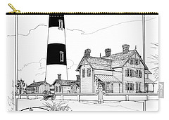Carry-all Pouch featuring the drawing Morris Island Lighthouse by Ira Shander