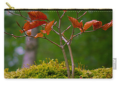 Moss Close-up With A Small Branch With Red Leafs Carry-all Pouch by Vlad Baciu