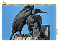 Carry-all Pouch featuring the photograph Mother And Baby Brandt's Cormorants by Susan Wiedmann