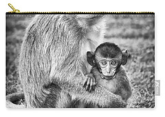 Mother And Baby Monkey Black And White Carry-all Pouch