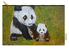 Carry-all Pouch featuring the painting Mother And Baby Panda by Jenny Lee